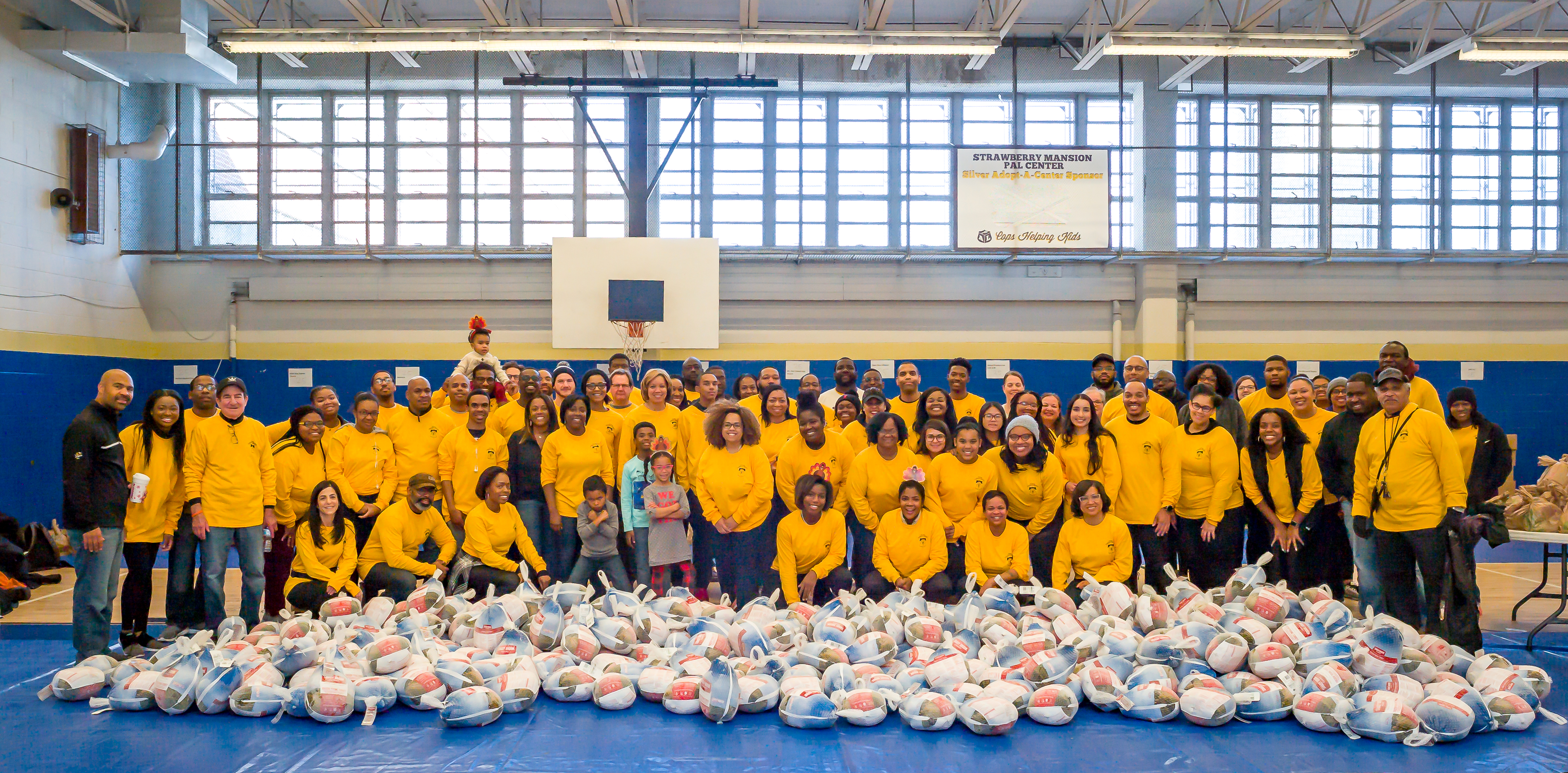 Volunteers with turkeys
