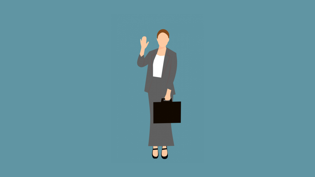 Businesswoman waving with right hand and holding briefcase in left.