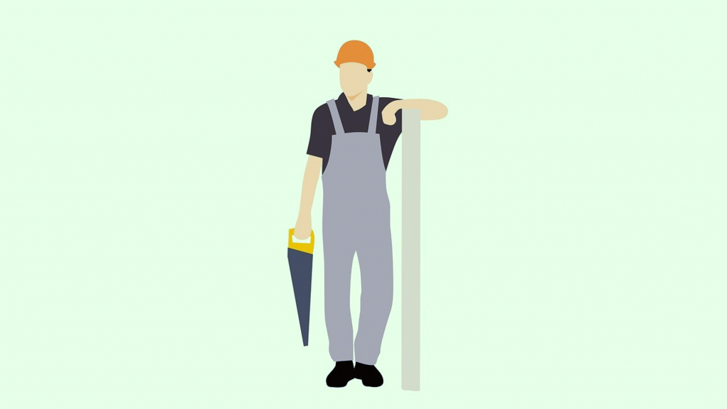 Illustration of construction worker holding saw and leaning on pole.