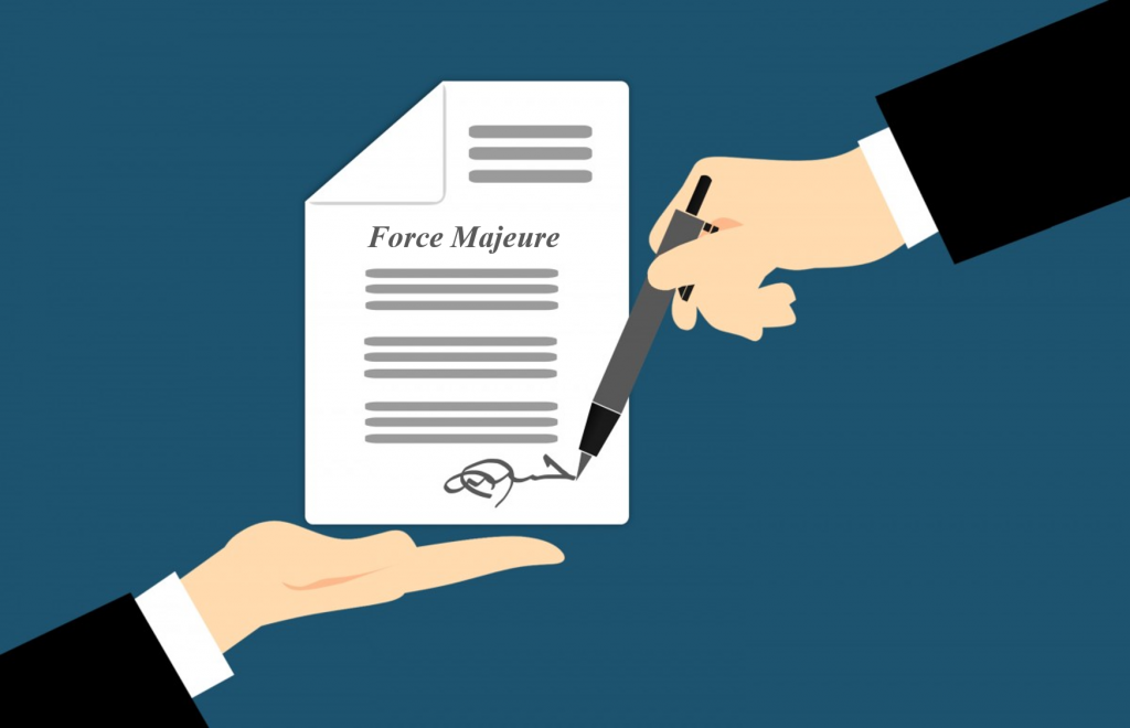 Graphic shows two hands. One holding a contract that shows Force Majeure and the other hand signing.