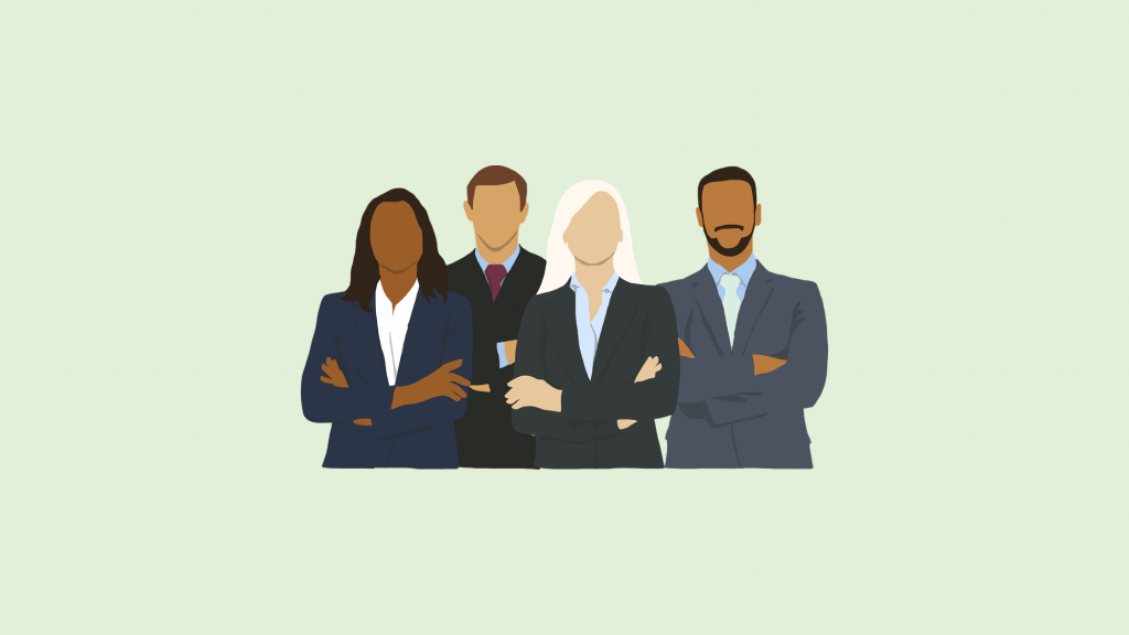 Diverse group of business people with arms folded