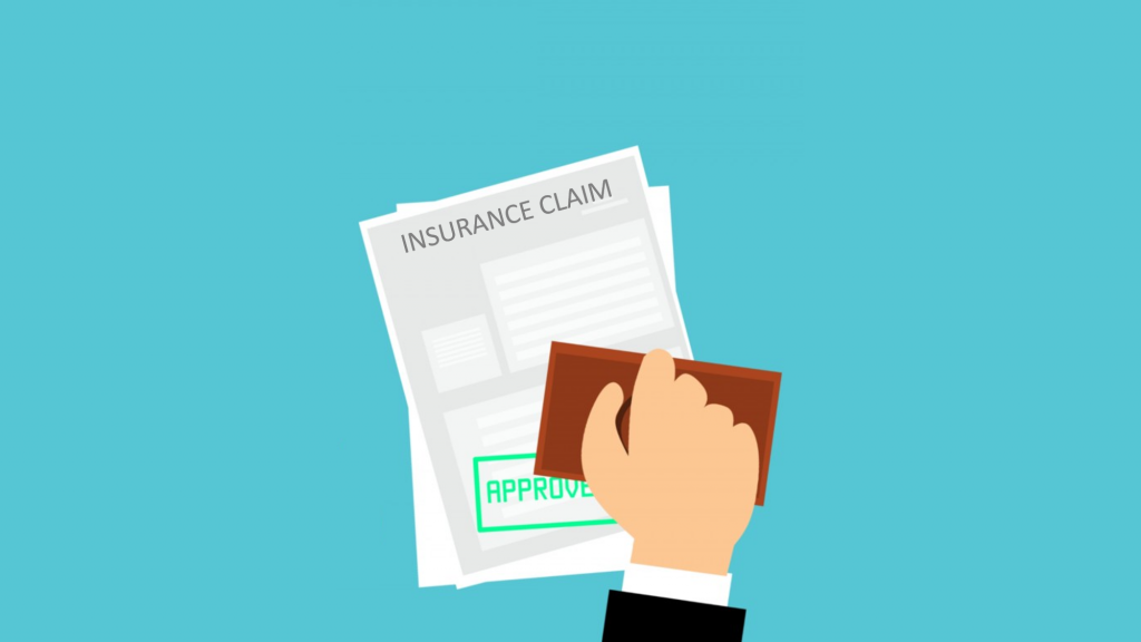 Illustration of hand putting approval stamp on an insurance claim