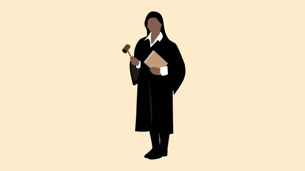 Female judge holding notebook and gavel