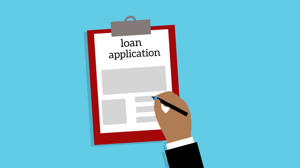 Illustration of hand completing loan application on clipboard