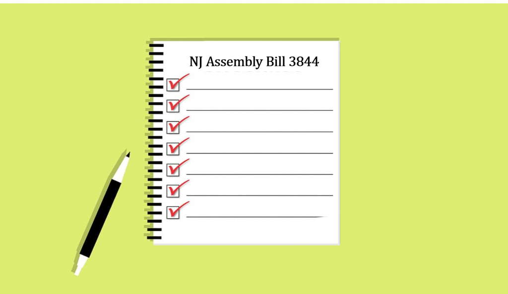 Illustration of checklist with pen - title of checklist is NJ Assembly Bill 3844 on green background