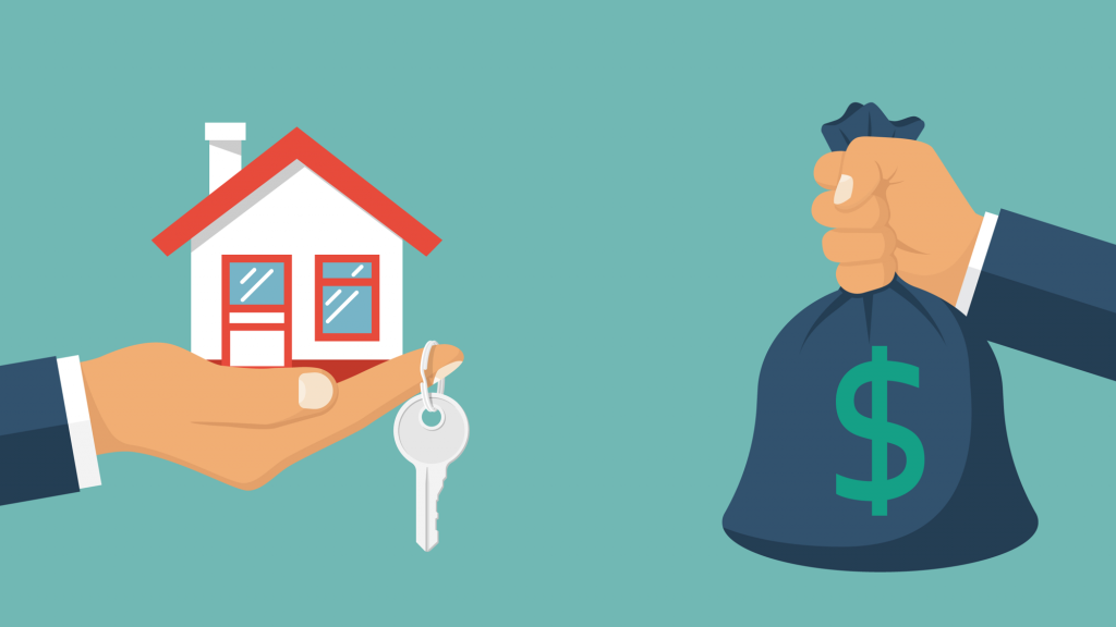 Illustration depicting security deposit. One hand holding house with keys and the other hand holding a sack of money.