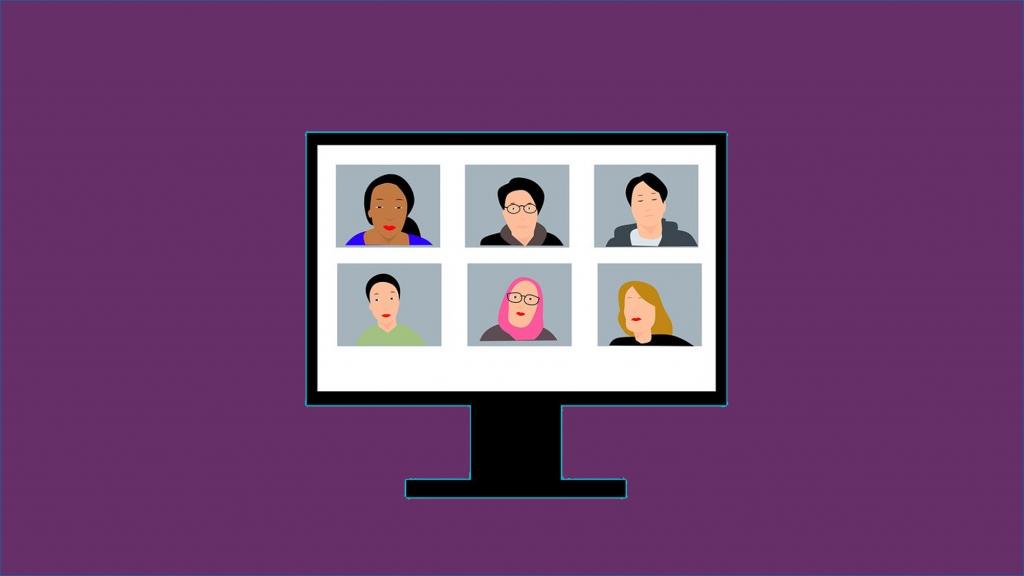 Illustration of computer monitor with six people video chatting