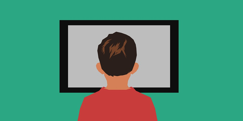 Back of head facing screen